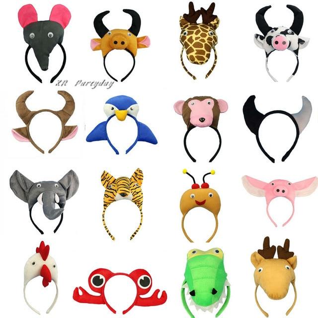 Children Adults Animal Ear Headband Monkey Giraffe Tiger Hairband Cosplay Headwear Party Gift Halloween Christmas