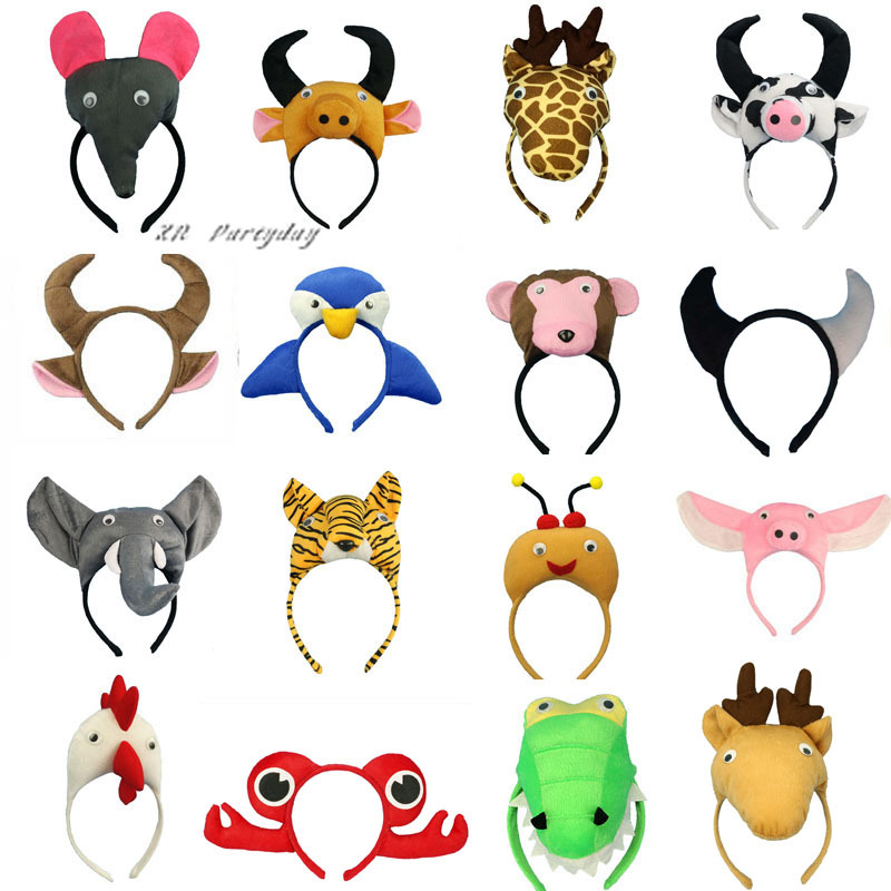 Children Adults Animal Ear Headband Monkey Giraffe Tiger Hairband Cosplay   Headwear   Party Gift Halloween Christmas