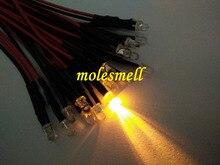 1000 قطعة 12 فولت الأصفر LED ضوء المصباح مجموعة قبل السلكية 3 مللي متر المياه واضحة مستديرة الأصفر led 12 فولت تيار مستمر السلكية
