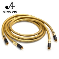 ATAUDIO 1pair Cardas 5C HIFI RCA interconnect Cable Hi end 2RCA Male to Male Audio Cable with carbon fiber RCA plug connector