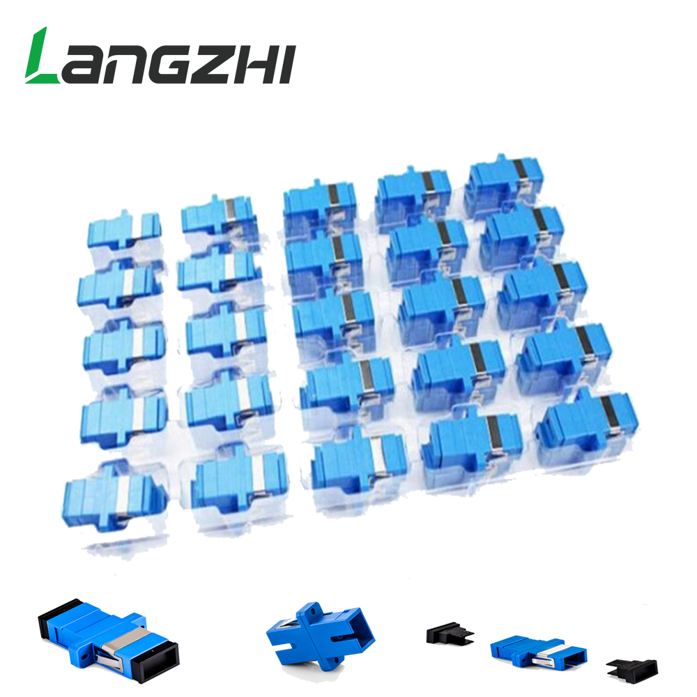 200 stks Nieuwe Glasvezel Connector Adapter SC/UPC SM Flens Singlemode Simplex SC-SC Coupler Gratis Verzending Groothandel om