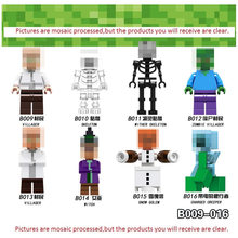 Single Minecrafted Building Blocks Zombie Baby Bat Chicken Rabbit Pig Wolf Farm Animal Figure Bricks Toys gift(China)