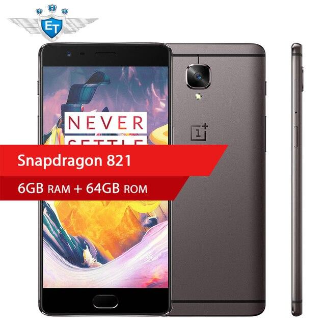 Original oneplus 3 t Snapdragon 821 Quad Core 5.5 ''1080 p 6 GB 128 GB Rom 4G Smartphone 16.0MP cámara carga rápida de la huella digital