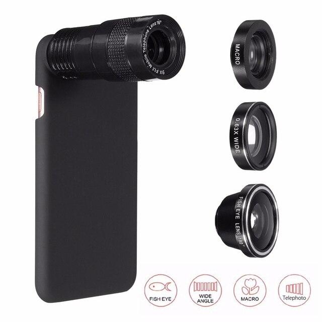 5 Em 1 0.63X 9X Zoom Telefoto Fisheye Grande Angular Macro 180 graus lente da câmera com caso da tampa do telefone para o iphone 7 7 plus