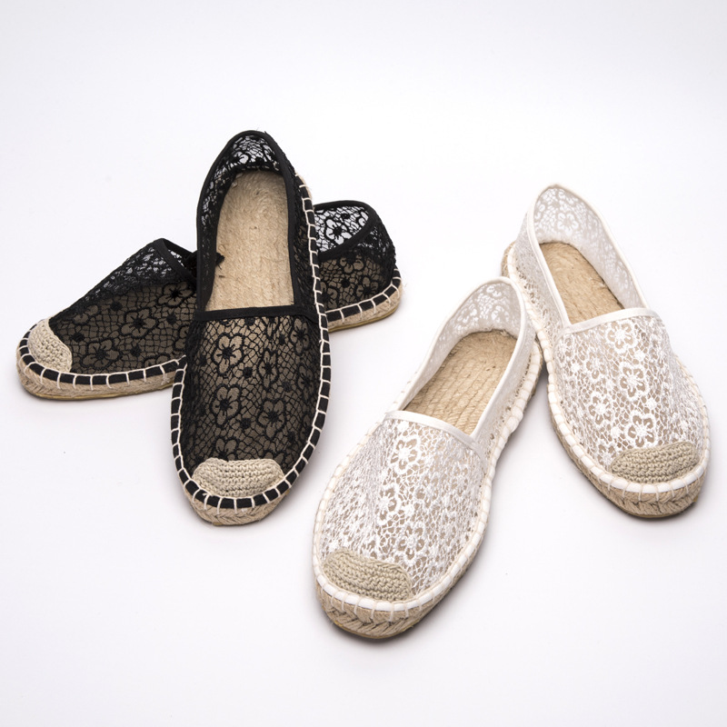 2O18 new lace hollow fisherman straw casual shoes fashion breathable flat white net shoe ...