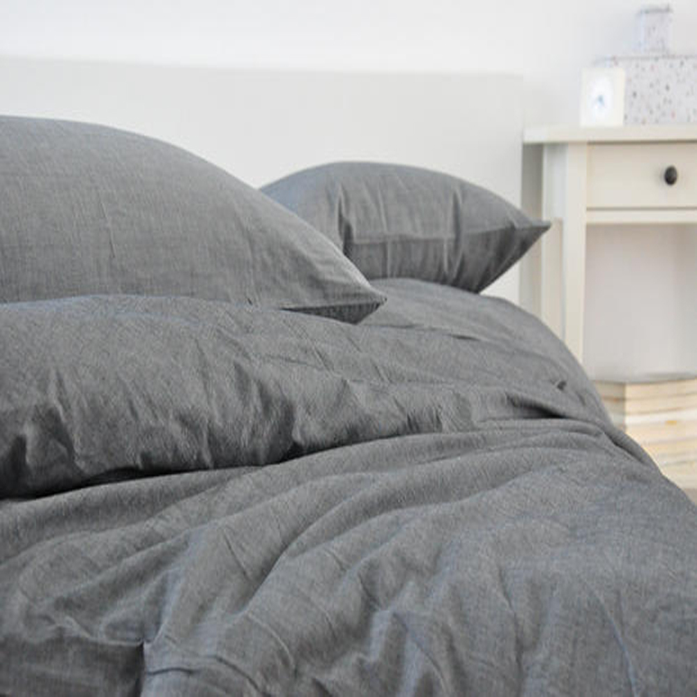 Aliexpress Com Buy Grey Washed Linen Duvet Cover King