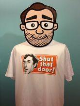 Larry Grayson Catchphrase White T-Shirt - Shut That Door! Generation Game Print T Shirt Mens Short Sleeve Hot Tops Tshirt