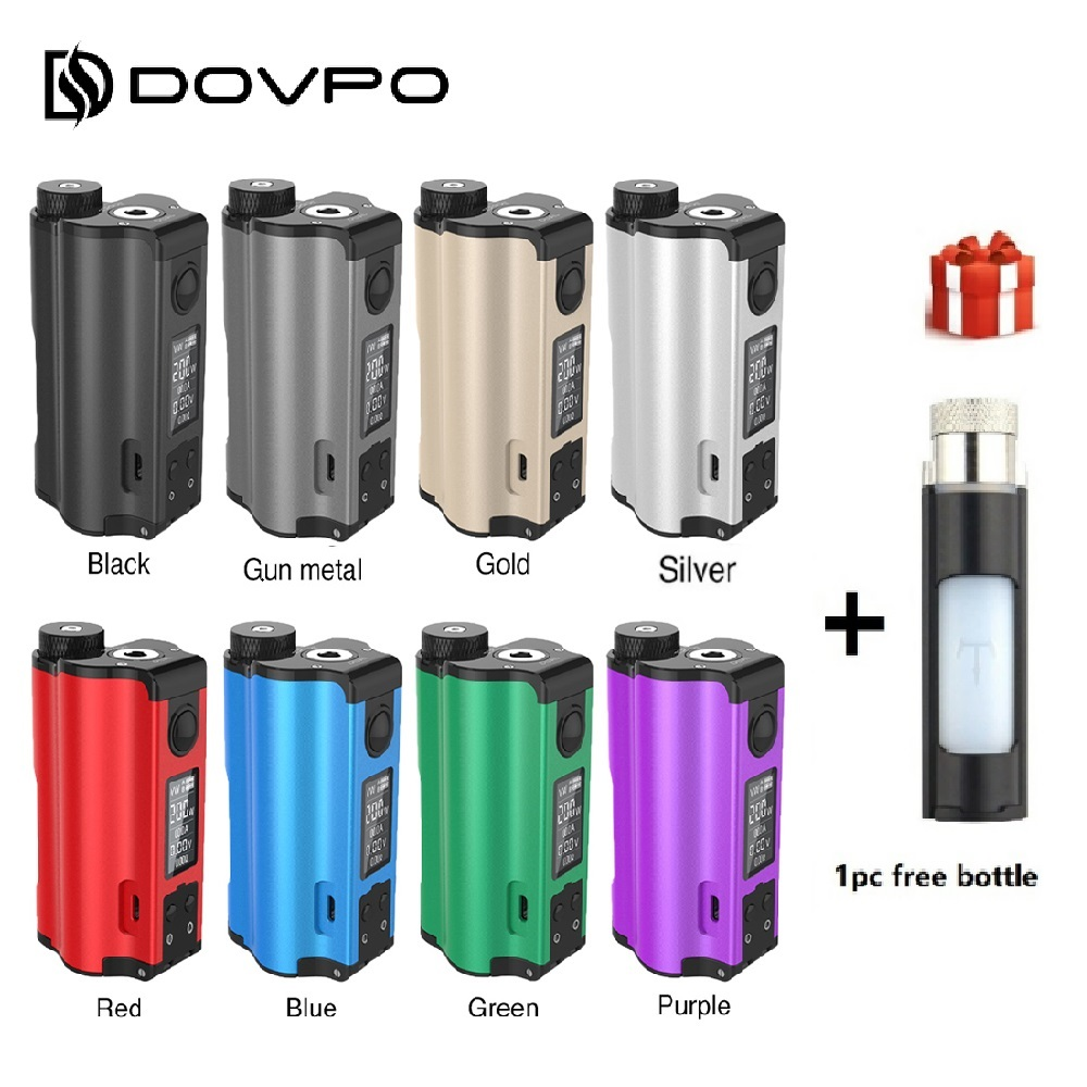 Free Gift Original 200W DOVPO Topside Dual Top Fill TC Squonk MOD with 10ml Squonk Bottle