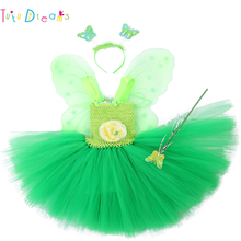 a3572d8bf5d Tinkerbell Girl Magic Fairy Birthday Party Dress Child Princess Pixie Cosplay  Tutu Dresses With Wings Easter