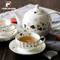 Элегантные цветы Кофе комплект Керамика костяного фарфора Британский Чёрный чай Кружка Кофе горшок Чай горшок фарфоровая чашка и блюдце на