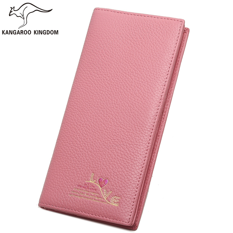 Kangaroo Kingdom Fashion Women Wallets Long Genuine Leather Wallet Brand Lady Purse Card Holder