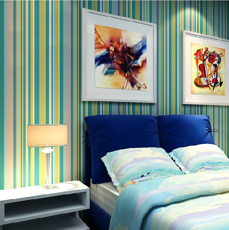 Color Striped Wallpapers for walls Girls Bedroom Wallpaper Boy Children Kids Room Wall Paper Roll