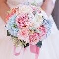 Пользовательские Невеста, Холдинг цветы розовый и синий букет Свадебный Букет Шелковый Свадебный Букет Свадебный Букет Искусственный Букет Роз