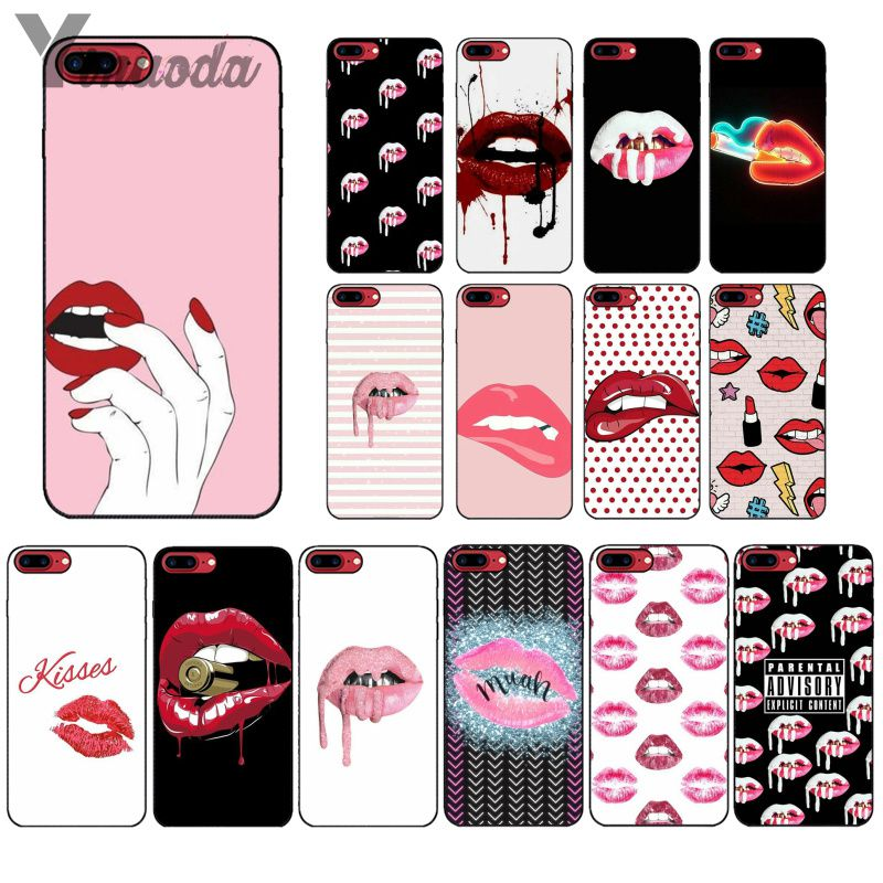 Yinuoda Sexy Girl Kylie Jenner Lips Kiss Soft Silicone black Phone Case for Apple iPhone 8 7 6 6S Plus X XS MAX 5 5S SE XR Cover in Half wrapped Cases from Cellphones Telecommunications