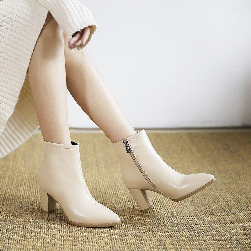 089142e52 Black 2018 De Beige Alta Para short Tobillo Cuero Black Gran Plush Zapatos Botas  Mujer short Beige Xinbest Niña Cuadrado leather Leather Punta Tacón Venta  ...