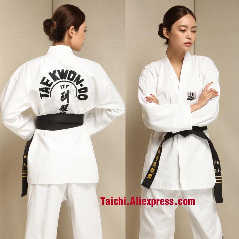 Martial Arts TKD Tae Kwon Do Korea V-neck Adult & Children Taekwondo Dobok For Poomsae & Training,WTF Uniform,160-190cm  White