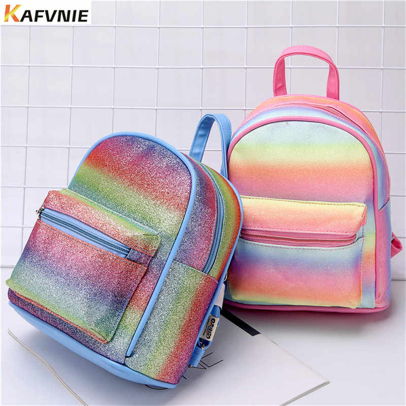 KAFVNIE Mode Regenbogen Rucksack für Kinder PU Cartoon Mädchen Kind Glänzende Schwarze Tasche Hohe Qualität Schule Rucksäcke Kinder Geschenk