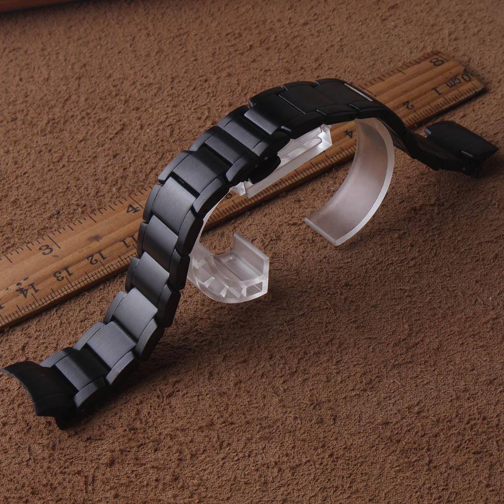 Neue arrivalStainless Stahl Strap für Samsung Galaxy Uhr 42mm Armband 20mm gebogene enden schwarz Armband Metall matte Uhr band-in Uhrenbänder aus Uhren bei  Gruppe 3