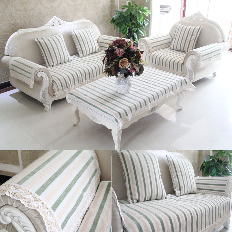 Us 10 9 40 Off Chenille Cotton Linen Stripe Sofa Towel Slipcover Cover For Living Room Mats 1 Piece European Seat Couch In