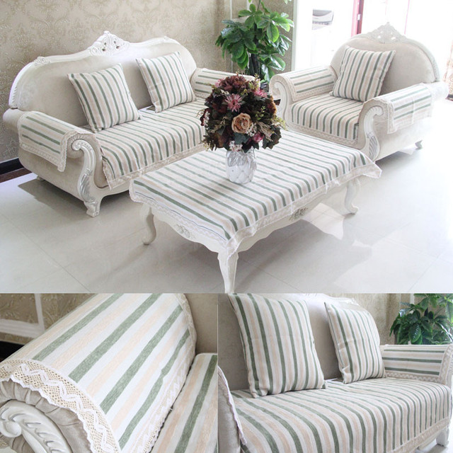 Chenille Cotton Linen Stripe Sofa Towel Slipcover Sofa Cover For Living  Room Sofa Mats 1 Piece
