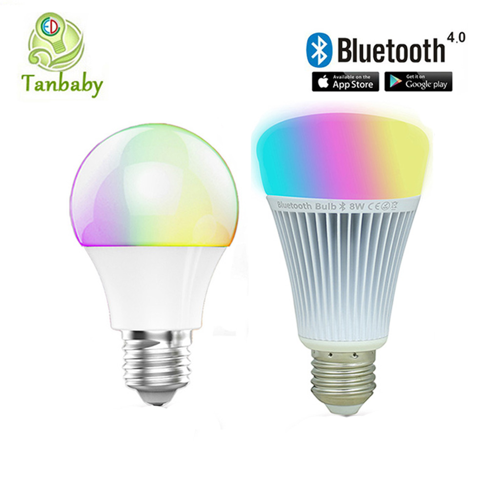 Tanbaby  Bluetooth LED bulb E27 RGBWW AC85-265V Bluetooth 4.0 Smart LED Light  lamp Dimmable spotlight by IOS / Android APP 8w smart led bulb bluetooth 4 0 e27 dimmable rgbww mi light led lamp color change music ball led light for android ios 110v 220v