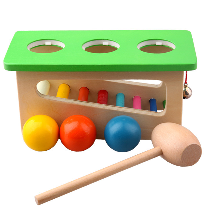 Children Baby Wood Sound Knock Ball Percussion Punch and Drop Instruments Hammering and Pounding Roll Bench ,2,3,4,year old