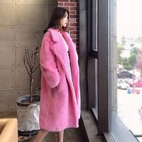 2019 new autumn and winter imitation wool long coat fur female solid warm full sleeve big pocket