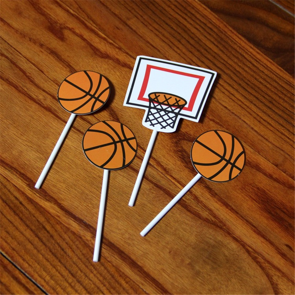CRLEY 5sets 20pcs Cake Decoration Toppers Basketball Soccer Football Baseball Children Boyfriend Birthday Gifts In Decorating Supplies