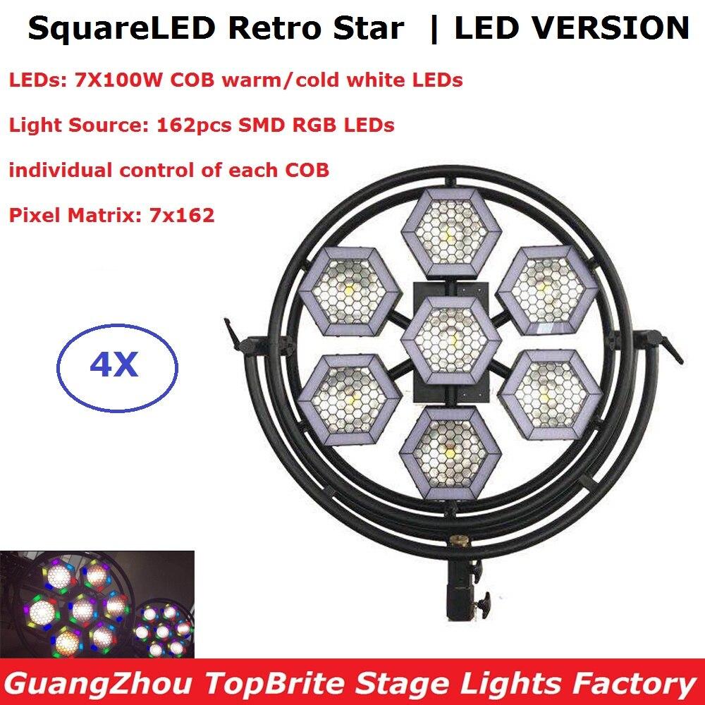 4xlot Профессиональное Освещение сцены светодиодная точечная лампа 7X100 W DMX 512 Ретро вспышки света Dj светодиодный освещение вечеринки Dj Contoller д