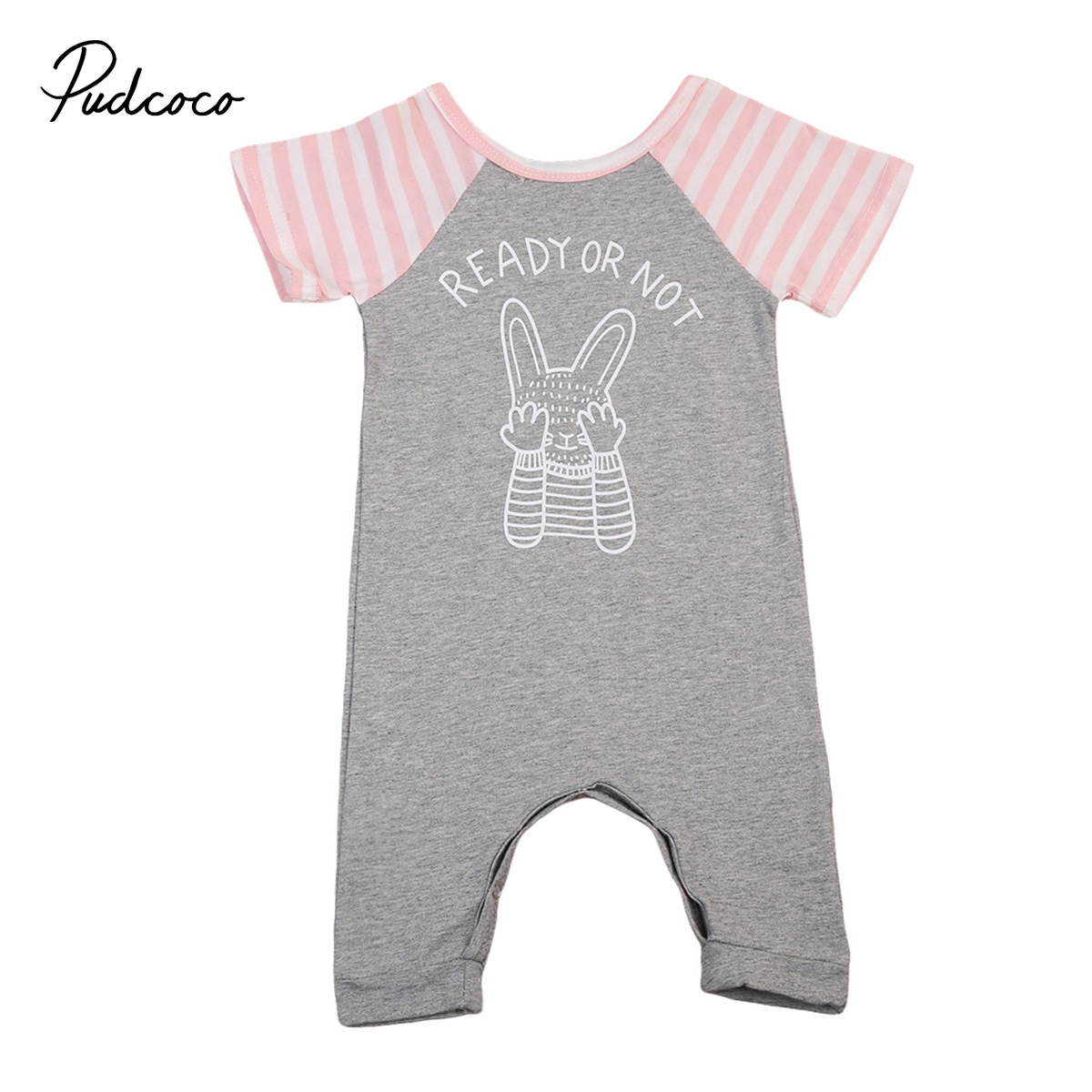 Pudcoco Newborn Infant Baby Girls Boys Rabbit Short Sleeve Romper Summer Cotton One-Piece Clothes 0-24M pudcoco newborn infant baby girls clothes short sleeve floral romper headband summer cute cotton one piece clothes