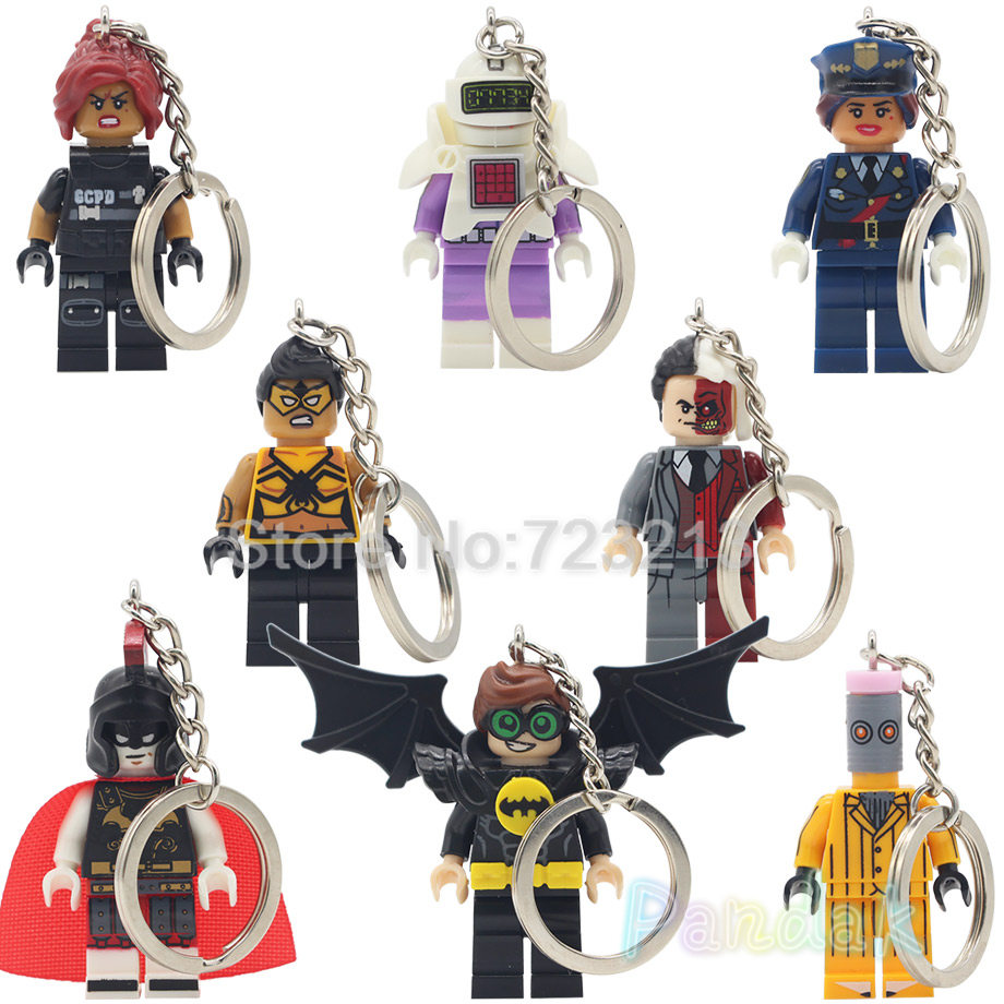 Single Sale DC Batman Figure Keychain Super Hero Tarantula Barbara Gordon Robin Two-Face Calculator Building Blocks Set Toys
