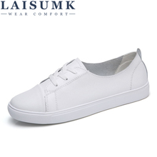 LAISUMK 2019 Autumn Women Leather Flats Shoes Basic Lace Up Flat Ladies Black White Rubber Oxford For Spring