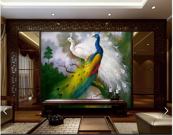 Customized 3d Photo Wallpaper 3d Wall Murals Wallpaper Peacock Chinese  Background Wall Paper 3d Living Room