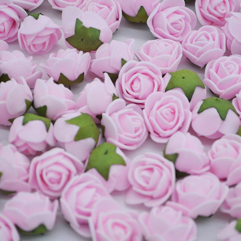 50pcs 2cm Mini Foam Rose Flowers Artificial Flower Head Home Wedding Decoration DIY Craft Handmade Pompom Party Supplies