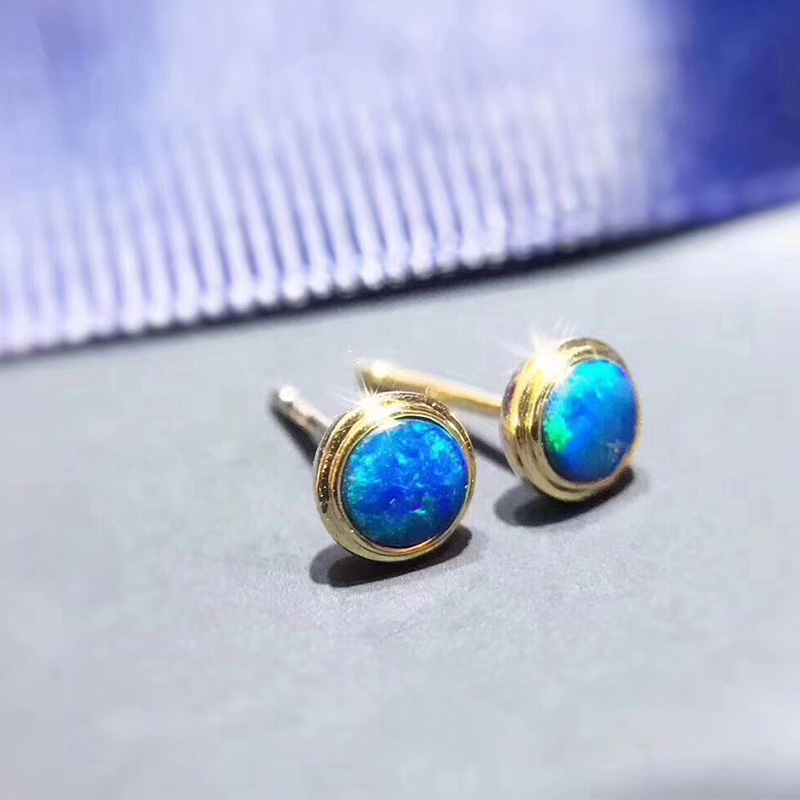 ANI 18K Yellow Gold (AU750) Women Opal Stud Earrings Round Natural Opal Earrings Fashion Lady Engagement Stud boucle d oreille gigabyte b360m hd3