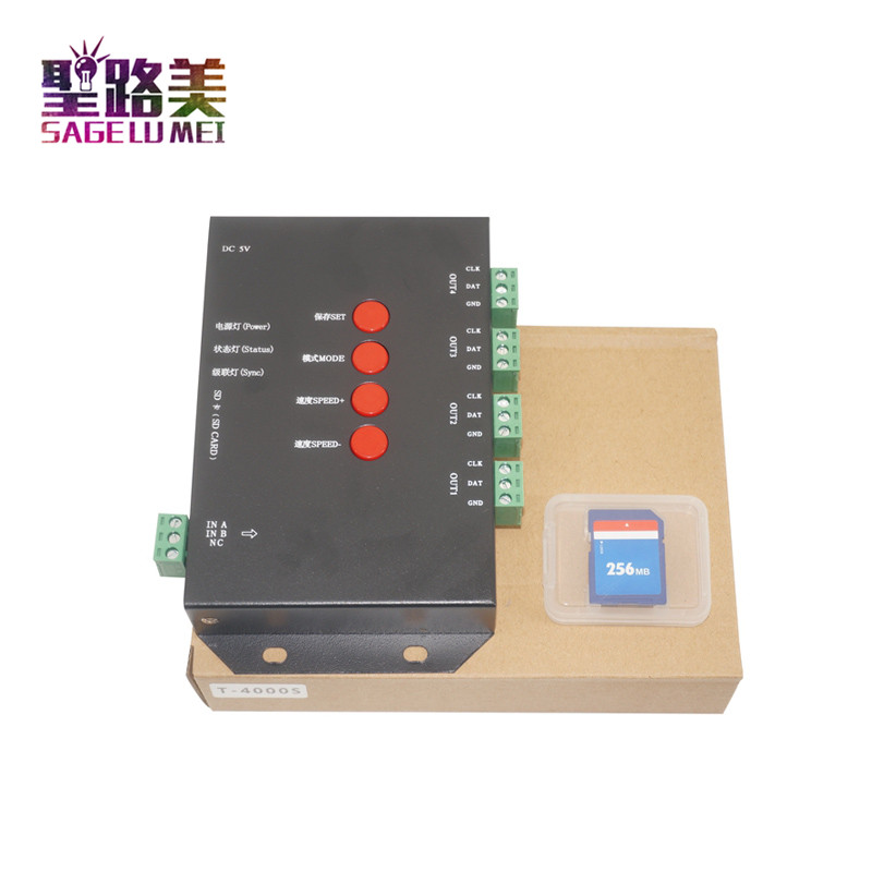Fast shipping T4000S LED Pixel RGB Controller Configurable SD Card For WS2812 WS2811 WS2801 LP6803 LED Strip Light Tape Ribbon dc5v t4000s rgb controller sd card led pixel controller t 4000s can max control 4096 pixels for ws2811 ws2801 ws2803 lp6803