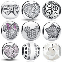 925 Sterling Silver Charms Clip Lovely Heart Knot Star Mickey Minnie Pave Clear CZ Charm For