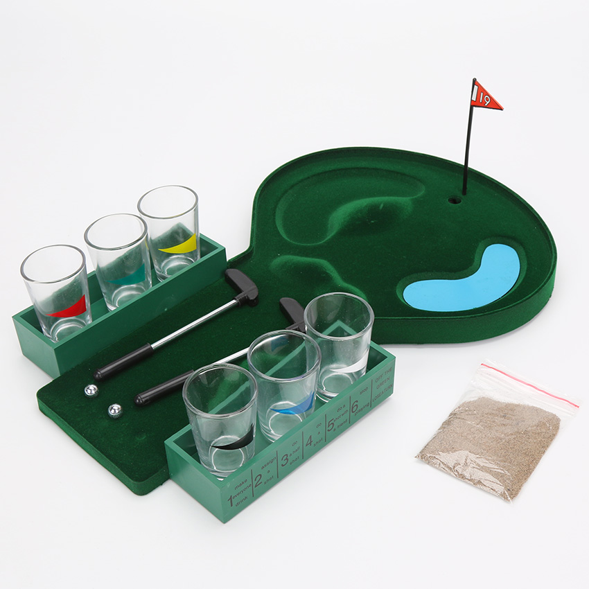 Novelty box mini table golf drinking game set with shot for Food bar drinking game