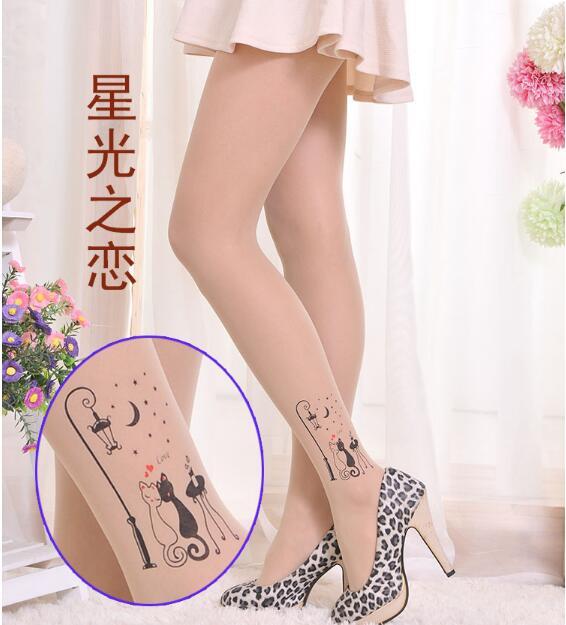 Hot Koop Fashion Slim Fake Tattoo Transparante Panty Benen Vrouwen Kousen Printing Gevulde Draad Panty Club Sexy Kousen Bright Luster