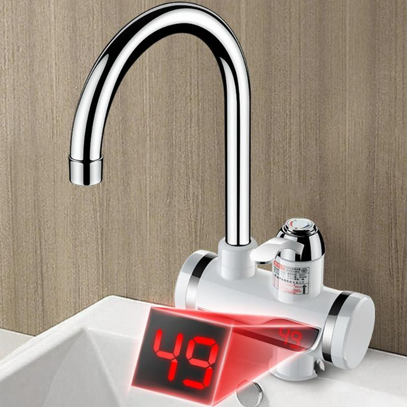 3000W Electric Water Tap Temperature Display Electric 3 Second Instant Heating Water Tap Water Faucet EU Plug Kitchen Bathroom