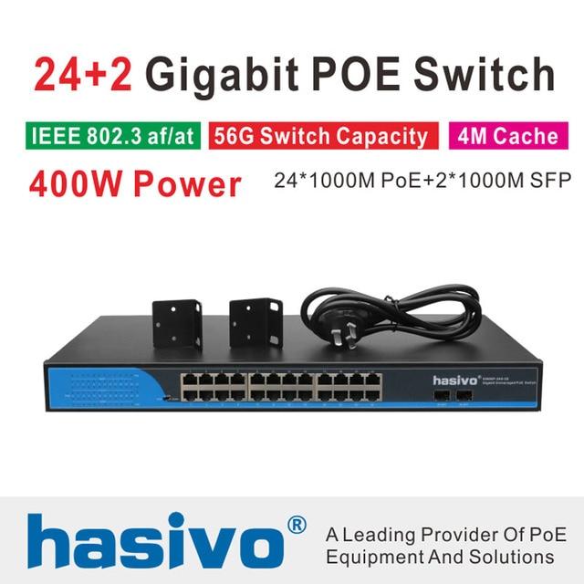 24 יציאות POE מתג עם 2 Gigabit SFP 24 PoE 2 SFP יציאות Gigbit PoE Ethernet מתג רשת 1000 Mbps rackmount