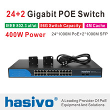 24 Ports POE Switch With 2 Gigabit SFP 24 PoE 2 SFP Ports Gigbit PoE Ethernet Network Switch 1000Mbps  Rackmount