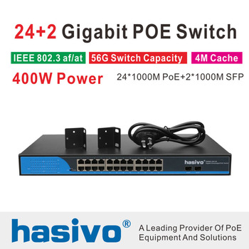 24 Ports POE Switch With 2 Gigabit SFP 24 PoE 2 SFP Ports Gigbit PoE Ethernet Network Switch 1000Mbps  Rackmount 24 ports poe switch with 4 gigabit sfp combo 24 poe 4 sfp fiber ports gigbit poe ethernet network switch 1000mbps rackmount