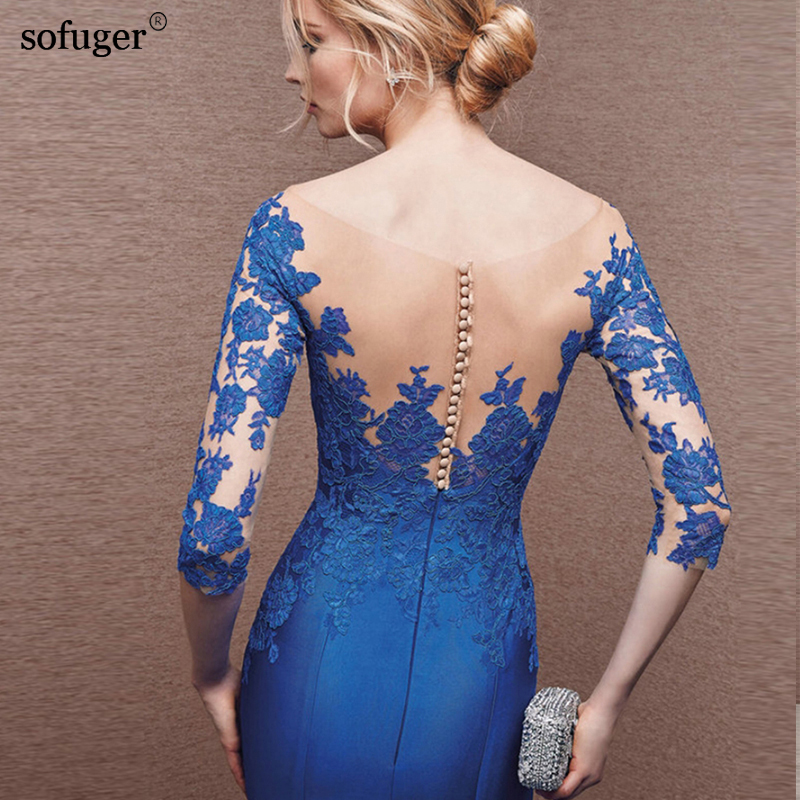 2018 Blue New arrival Elegant Blue Sexy Elegant Mermaid Floor-Length Customized Scoop Neck Backless Long Sleeves Evening Dresses