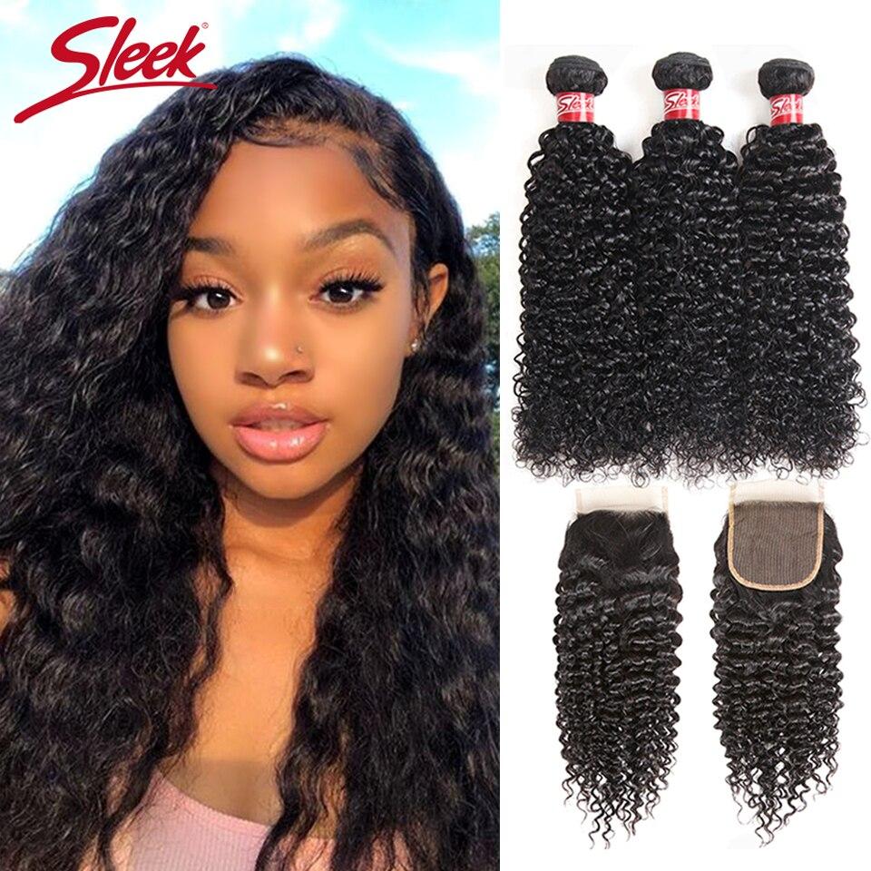 Sleek Peruvian Kinky Curly Weave Human Hair Bundles With Closure Free Part Non Remy Human Hair
