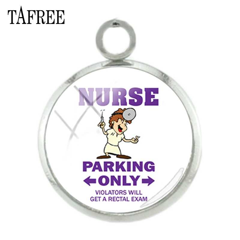 TAFREE 看護駐車場だけ看護師医師画像チャームガラスカボションペンダントジュエリー DO76