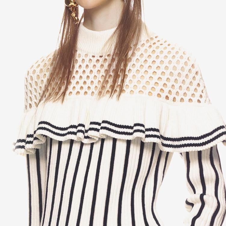 Automne Chart Bande Robe Longues Creux Avec Col Nouveau Falbala Tricoté Femelle Manches E1086 out Rond À Chandail See qwgxTt