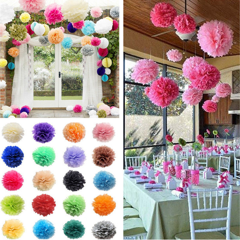 5PCS Tissue Paper Pompom Pom Poms Hanging Wedding Party
