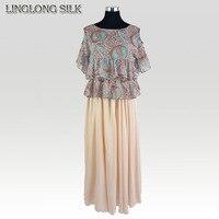 Silk Long Skirt/100% Mulberry Silk Chiffon/2015 New Fashion Summer Style Desigual Bohemian Beach Flower Skirts for Women