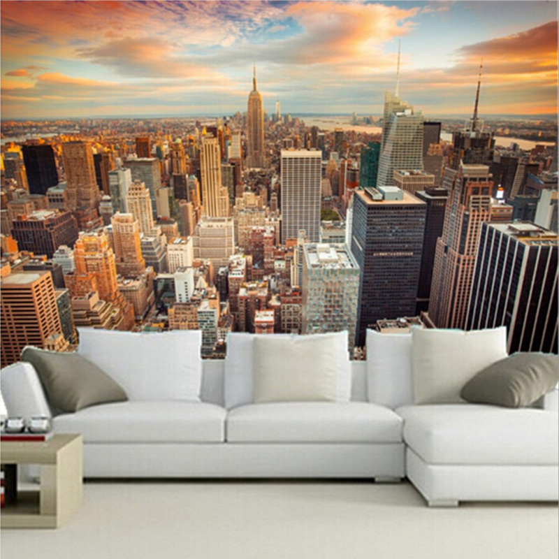 Custom 3D Wallpaper Murals USA Skyscrapers New York City Building Wall Painting Bedroom Living Room Sofa Wall Papers Home Decor ...